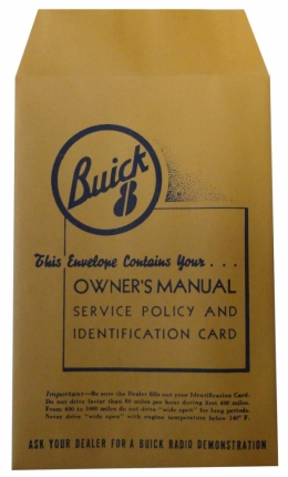 New Vehicle Owners Manual Envelope