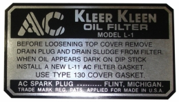 Oil Filter Decal - AC L-1