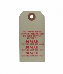 New Vehicle Break In Instructions Tag