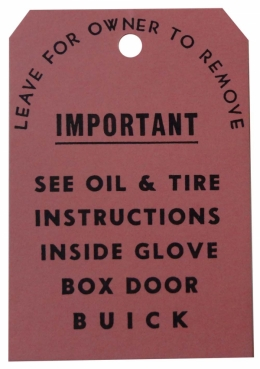 Tag - Oil & Tire Instruction