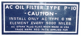 Oil Filter Decal - P10 C115