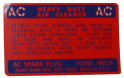 Oil Bath Air Cleaner Instructions Decal