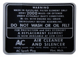 Dry Style Air Cleaner Service Instructions Decal
