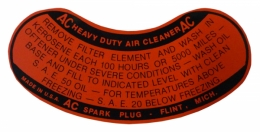 Oil Bath Air Cleaner Service Instructions Decal - Heavy Duty