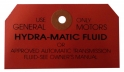 Hydramatic Transmission Dipstick Instructions Tag