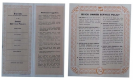 1954 Buick Restoration Parts New Vehicle Service Policy - DB0230