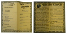 1955 Buick Restoration Parts Delco Battery Owners Certificate - DB0271