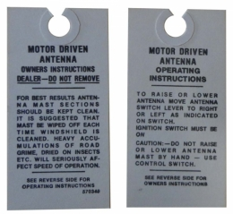 1955 Buick Restoration Parts Electric Antenna Instructions Tag - DB0393