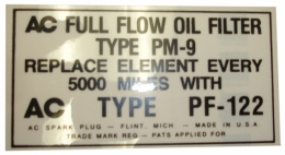 Oil Filter Decal - PF-122