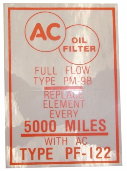 1955 Buick Restoration Parts Oil Filter Decal - PF-122 - DB0192