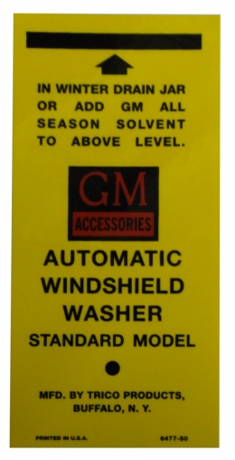Windshield Washer Bracket Decal (GM)