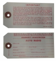 Radio Warranty Tag