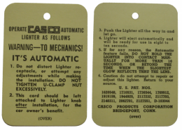 1957 Cadillac Restoration Parts Cigarette Lighter Instructions Tag - DA0038