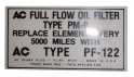 Oil Filter Lid Decal