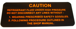 1959 Cadillac Restoration Parts Air Conditioner Compressor Warning Decal - DA0029