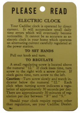 1959 Cadillac Restoration Parts Electric Clock Instructions Tag - DA0039
