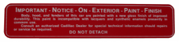 Glove Box Paint Notice Decal