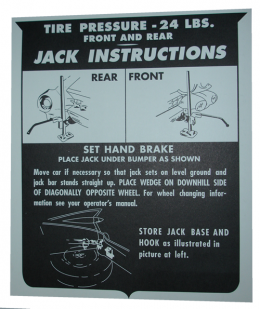 Jack Instructions Decal - In Trunk