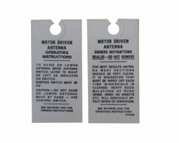 Electric Radio Antenna Instructions Tag