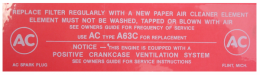 Air Cleaner Service Instructions Decal