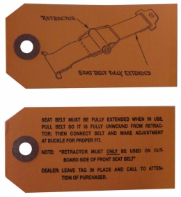 Tag- Seat Belt Instructions