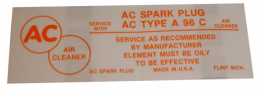 Air Cleaner Decal - Filter Type A96C