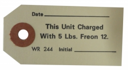 Freon Charge Air Conditioner Compressor Tag