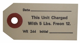AC Compressor Freon Charge Tag