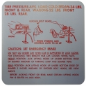 Jack Instructions / Tire Pressure Decal