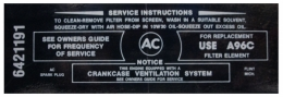 Wildcat 310 Air Cleaner Service Instructions Decal
