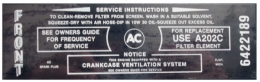 Wildcat 445 Air Cleaner Service Instructions Decal