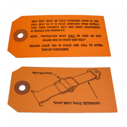 Seat Belt Instructions Tag
