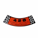 """428 4-V Premium Fuel"" Air Cleaner Decal - Orange"