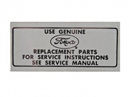 1966 Ford Restoration Parts Air Cleaner Service Decal - DF0149