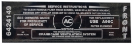 Air Cleaner Service Instructions Decal - 300-2V