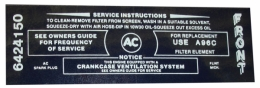 Air Cleaner Service Instructions Decal - 340-4V
