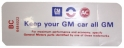 "Air Cleaner Decal - ""Keep your GM car all GM"" - GS 350/400"