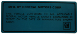 Vehicle Certification Decal Kit