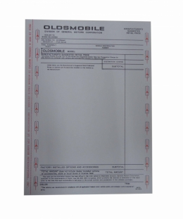 New Car Window Price Sheet