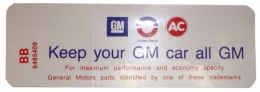 "Air Cleaner Decal - ""Keep your GM car all GM"" - 350-4V"