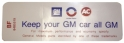 "Air Cleaner Decal - ""Keep your GM car all GM"" - 350-2V With Heavy Duty Filter"