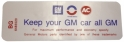 "Air Cleaner Decal - ""Keep your GM car all GM"" - 350-4V With Heavy Duty Filter"