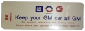 "Air Cleaner Decal - ""Keep your GM car all GM"" - 455 With Heavy Duty Air Filter"