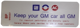 """Keep Your GM All GM"" Air Cleaner Decal - 6 Cylinder With Heavy Duty Filter"