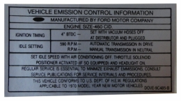 460 Automatic Transmission Emission Decal