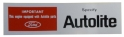 Autolite Parts Air Cleaner Decal