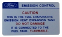 California Emission Expansion Tank Caution Decal
