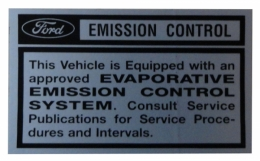 Emission Control Evaporator Decal