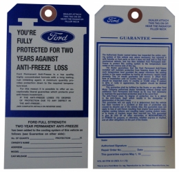 Ford Antifreeze Tag