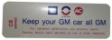 """Keep Your GM All GM"" Air Cleaner Decal - 6 Cylinder"